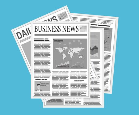 icono de pila de periódicos en diseño plano sobre fondo azul. Revista mundial de noticias, pila de papel, montón de revistas, ilustración vectorial
