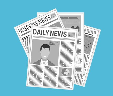 newspaper stack icon in flat design on blue background. World news magazine, paper pile, journal heap, vector illustration