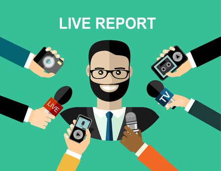 Business man giving an interview in the presence of journalists with microphones. Vector Illustratie