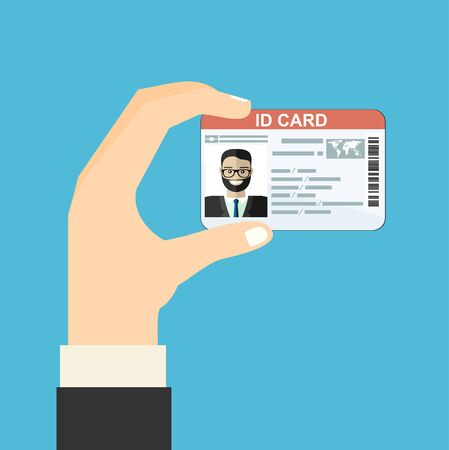 Illustration of hand holding the id card. Vector illustration flat design.