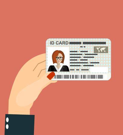 Illustration of hand holding the id card. Vector illustration flat design. Vetores