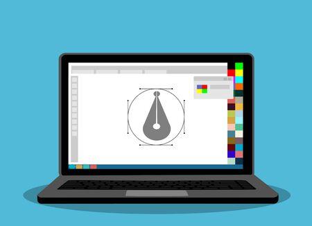 Printing and graphic design concept. design program on laptop.