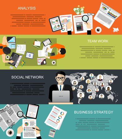 Zestaw płaskich koncepcji ilustracji do analizy biznesowej, finansów, doradztwa, zarządzania, pracy zespołowej, zasobów ludzkich, sieci społecznej, agencji zatrudnienia, szkolenia personelu, pieniędzy, technologii.