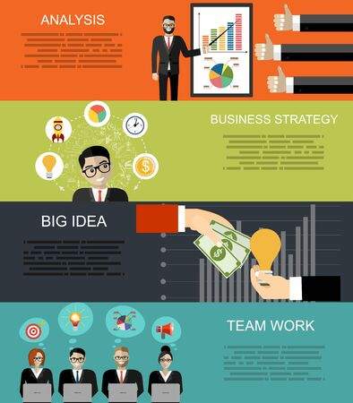 Set of flat design illustration concepts for business analysis, finance, consulting, management, team work, human resources, social network, employment agency, staff training, money, technology.
