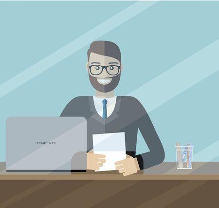 Man clerk in a bank office. Flat vector Çizim