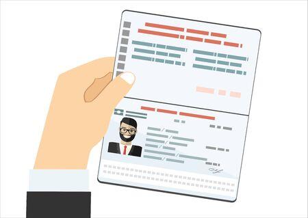 Hand Hold Travel Identification Document Flat Vector Illustration