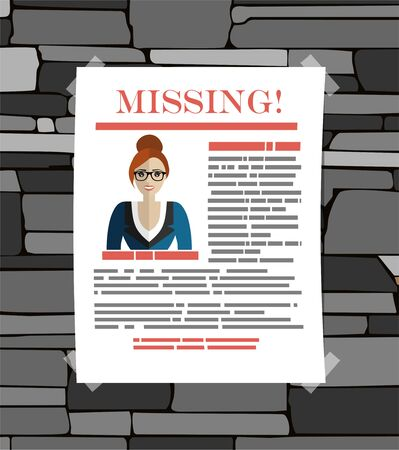Missing announce. Wanted man. Vector illustration flat design. Ilustração