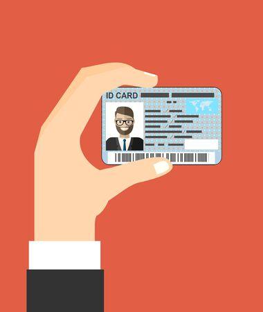 Illustration of hand holding the id card. Vector illustration flat design. Векторная Иллюстрация