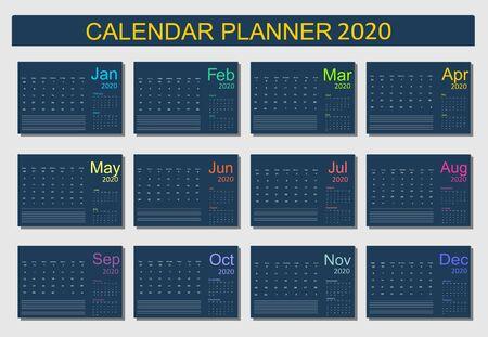 2020 Calendar Planner Design. Monthly scheduler. Week starts on Sunday. Set of 12 months. Vector illustrator. Vektoros illusztráció