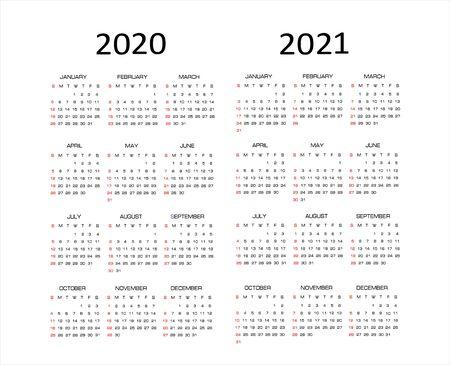 Calendar 2020, 2021, vector illustration. Week starts on Sunday. Иллюстрация