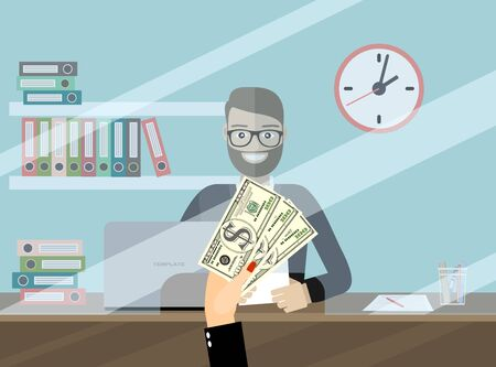 Bank teller behind window. Hand with cash. Depositing money in bank account. People service and payment. Vector illustration in flat style