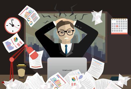 Stress bei der flachen Abbildung des Arbeitskonzeptes. Gestresste Männer im Anzug mit Brille, im Büro am Schreibtisch, nachts. Modernes Design für Webbanner, Websites, Drucksachen. Flacher Vektor.