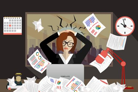 Stress at work concept flat illustration. Stressed out women in suit with glasses, in office at the deskat, at night. Modern design for web banners, web sites, printed materials. Flat vector.