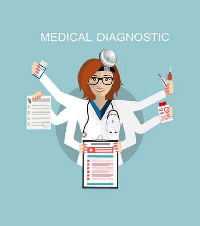 Flaches Design. Multitasking-Arzt. Medizinisches Krankenhaus, Stethoskop und Gesundheit, Zahnarzt- und Medizinberuf, Arztgesundheit, menschliche Pflege, Berufsarzt, Berufsarztuniformillustration