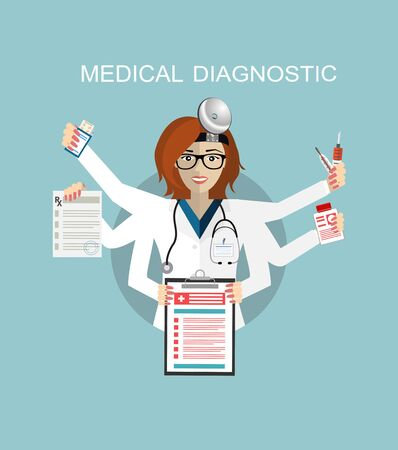 Flat design. Multitasking medical doctor. Medical hospital, stethoscope and health, dentist and medicine profession, doctor healthcare, human care, occupation doctor, job doctor uniform illustration