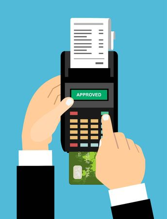 Hand of businessmen enters a pin code for a Bank card payment on pos terminal with approved on screen. Vector illustration in flat style