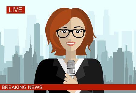 Reporter on a live on screen vector illustration Vektoros illusztráció