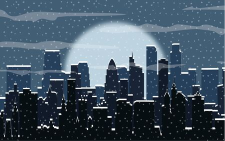 Winter city silhouette, buildings, falling snowflakes. sky. Christmas and new year, winter urban cityscape illustration
