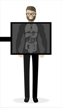 Young hipster patient with the beard during chest x ray procedure. Young man with x ray screen showing his internal organs. Vector flat design illustration. Square layout.