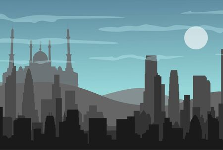 Silhouette of a mosque. Buildings silhouette cityscape with mountains. Modern architecture. Urban landscape. Horizontal banner with megapolis panorama. Vector illustration Illustration