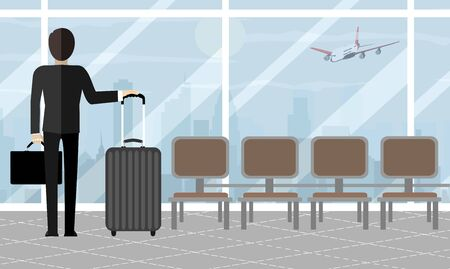 Businessman at airport with suitcase, cityscape in background. Travel, vacation, business trip concept. Vector illustration in flat design.