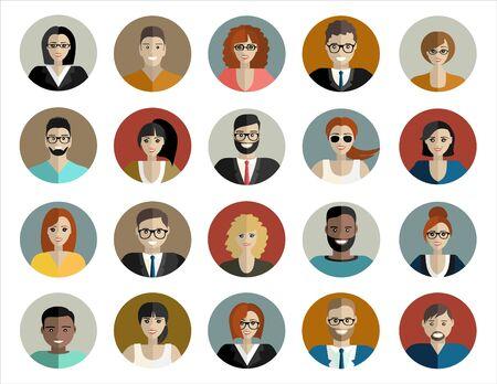 Cara de la gente, icono de avatar, dibujos animados. Hombre y mujer. ilustración en estilo plano