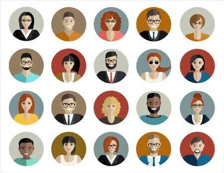 People face, avatar icon, cartoon. Male and female. illustration in flat style