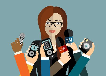 Business woman giving an interview in the presence of journalists with microphones. Vetores