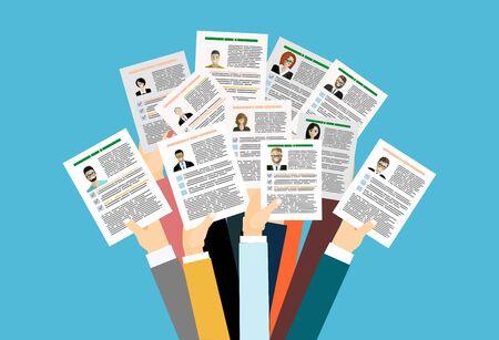 Postuler à un emploi, donner un CV, concept de vecteur de concours d'emploi Vecteurs