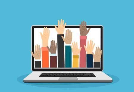 Raised hands volunteering out from laptop vector concept Stock Illustratie