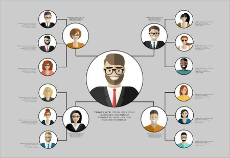 Organizational chart corporate business hierarchy, people structure, character cartoon business people conceptual vector illustration.