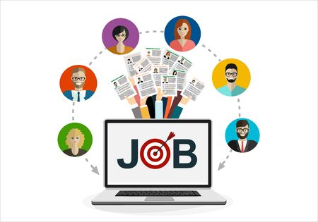 Human resources design. Applying for job at laptop, giving CV, job competition vector concept. Stock Illustratie