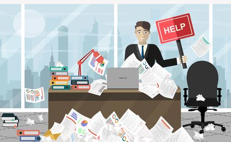 Business man needs help under a lot of documents in office at the desk and holding a HELP placard.