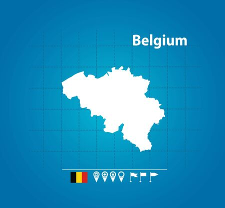 Detailed vector map of Belgium. Name country, flag and pointer. Flat vector illustration. Ilustração