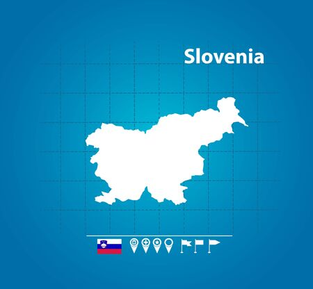 Detailed vector map of Slovenia. Name country, flag and pointer. Flat vector illustration.