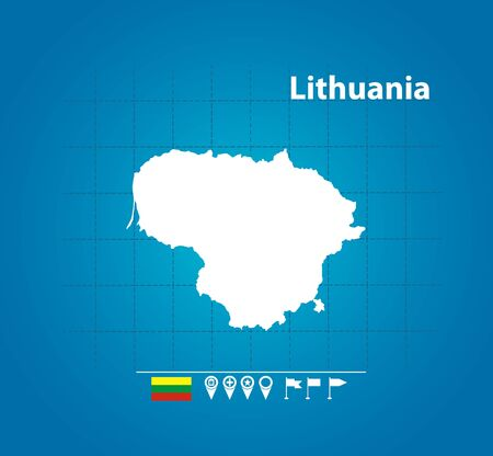 Detailed vector map of Lithunia. Name country, flag and pointer. Flat vector illustration.
