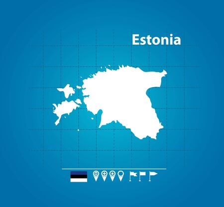 Detailed vector map of Estonia. Name country, flag and pointer. Flat vector illustration.