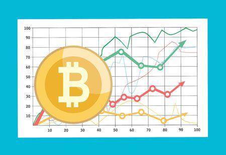 Bitcoin mit Infografik zum Wachstum. Finanzielles Wachstumskonzept