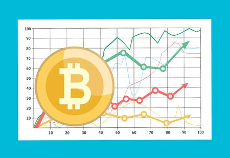 Bitcoin with growth graph infographic. Financial growth concept
