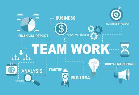 Team Work illustartion concept. Flat design.