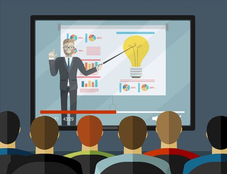 Training staff, business presentation, financial report. Sitting people in auditorium and big white screen with light bulb. Creative idea, business webinar concepts. Flat design vector illustration