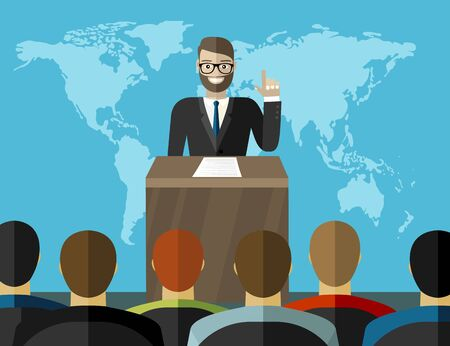 Press conference. Man standing at rostrum with microphones in auditorium with people, world map on background. Flat design graphics for web banners, websites, printed materials. Vector illustration