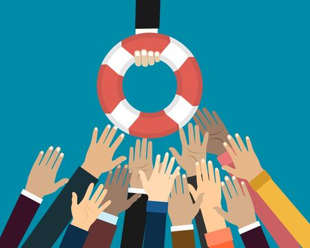 Helping Business to survive. Drowning businessmans getting lifebuoy from another businessman. Business help, support, survival, investment concept. illustration in flat style