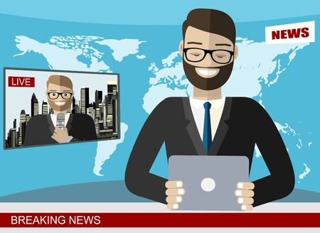 News anchor broadcasting the news with a reporter live on screen vector illustration Vettoriali