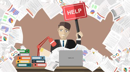 Businessman with pile of paper, business concept. Flat vector illustration.