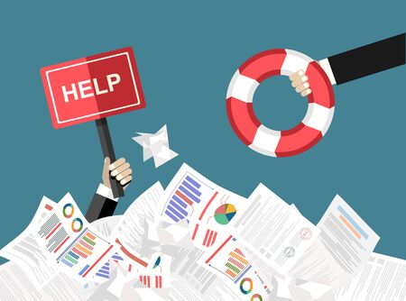 he hand of a man sticks out of a pile of papers. Another person is stretching a lifeline and wants to help. Helping Business to survive. Drowning businessman getting lifebuoy from another businessman Çizim