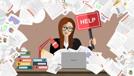 Business woman with pile of paper, business concept. Flat vector illustration.