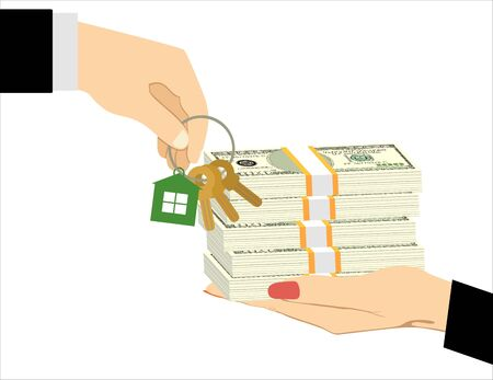 Hands with money and with keys. Real estate concept. Vector illustration in flat style