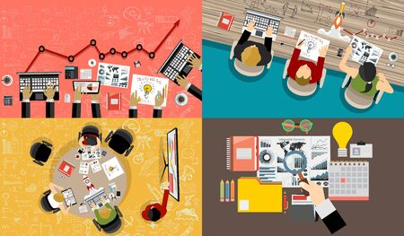 Set of flat design illustration concepts for business, finance, consulting, management, human resources, social network, employment agency, staff training, money, technology, navigation.