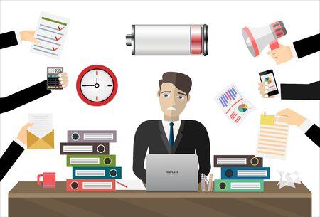 Überarbeiteter Geschäftsmann arbeitet Laptop-Computer mit niedrigem Energievektor-flaches Illustrationskonzept